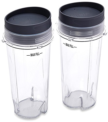 Ninja Blender Cup - 2 pack - 16 oz. Single Serve to go Cups with Lids. Fits Ultima and Professional Series Nutri Ninja (2 Pack)
