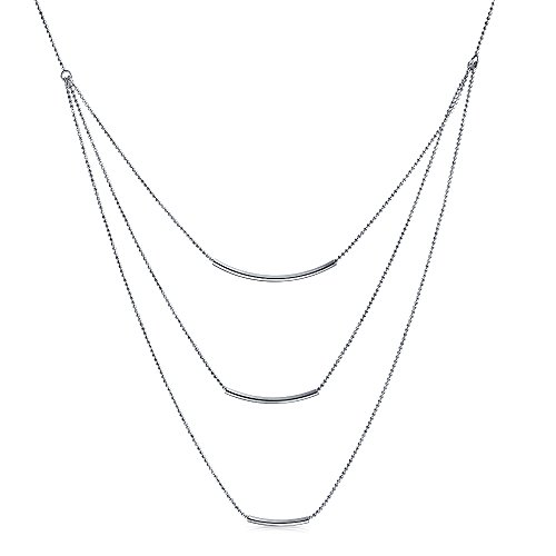 Strand Chain Necklace For Women Modem Curved Bar 925 Sterling Silver ()