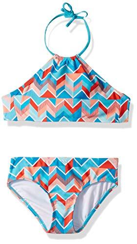 Kanu Surf Big Girls' Mahina Beach Sport Halter Bikini 2-Piece Swimsuit, Ruby Blue Chevron, 12