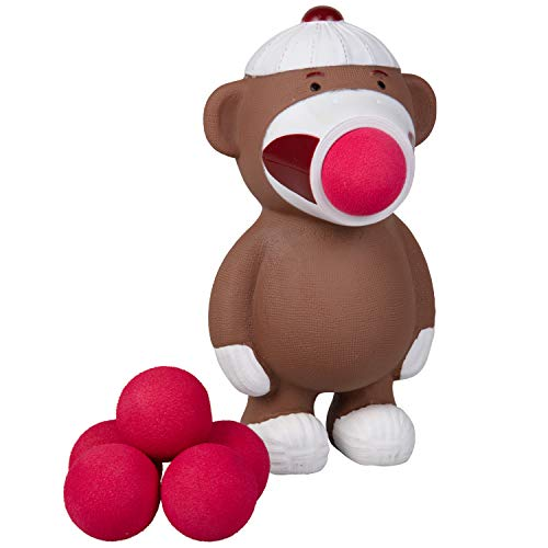 Hog Wild Sock Monkey Popper Toy - Shoot Foam Balls Up to 20 Feet - 6 Balls Included - Age 4+ (Bobber Cat Toy)