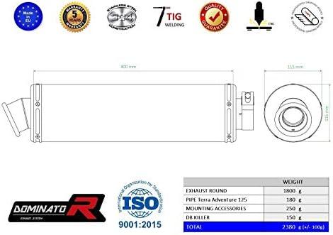 DERBI Terra Adventure 125 Pot d/échappement Rond Silencieux Dominator Exhaust Racing Slip-on 2008 2009 2010 2011 2012 2013 2014 2015