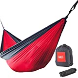 Rallt XL Single Camping Hammock - Ripstop Parachute Nylon, Lightweight & Portable, Includes Hanging Gear, 12kN Aluminum Wiregate Carabiners (Red/Charcoal, 305 x 188 Centimeter)