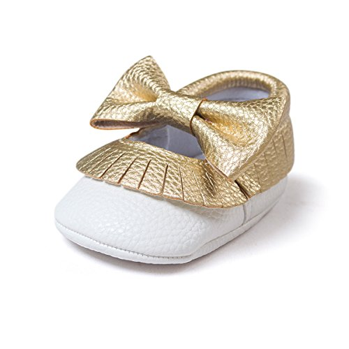 Meckior Infant Toddler Baby Girls Soft Sole Dress Mary Jane Princess Shoes Prewalker Party Shoes (6-12 Months, C-Gold White)