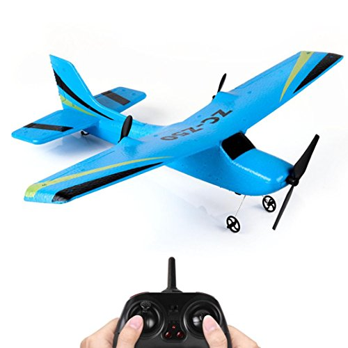 (WARMSHOP 2.4G RC Airplane High Stable Remote Control Glider With Gyro 350mm Wingspan Micro Indoor Outdoor Helicopter (Blue))