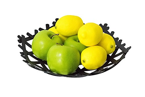 Designer Unique Woven Metal Fruit Basket - Chic, Designer Look for your Home - Versatile, Fashionable Accessory for any Room in the Home
