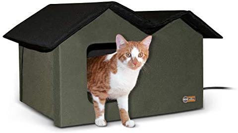 K H Pet Products Outdoor Heated Kitty House Extra Wide Olive 26 5 X 15 5 X 21 5 Inches Pet Supplies