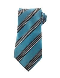 Mens Necktie Turquoise with Silver Black White Classic Stripe Tie