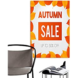 UHOO Linen Art Prints PicturesAutumn Sale Background Layout Decorate with Leaves for Shopping Sale or Promo Poster and Frame Leaflet or Web Banner Vector Illustration Template Orange and Yellow