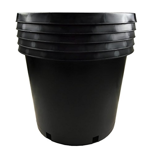 CaliPots 5-Pack 15 Gallon Premium Black Plastic Nursery Plant Container Garden Planter Pots(15 Gallon)
