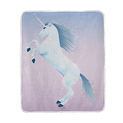 (ColourLife Soft Blanket Throw Cozy Warm Flannel Fleece Blanket for Kids Women Bed Sofa Couch Beach 50x60 inches Magic Unicorn Rising Up On His Hind Legs)
