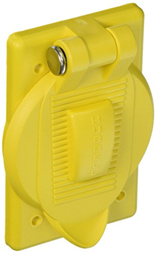 Hubbell Wiring Systems HBL74CM25WOA Ship-to-Shore Polycarbonate Spring-Loaded Lift Cover for HBL26CM10 Weather Proofing Receptacle, Yellow