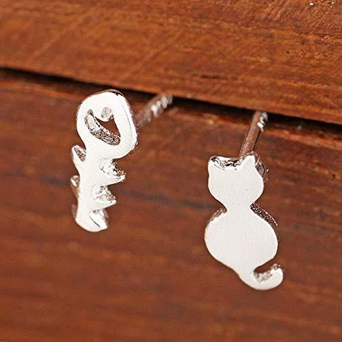 Campton Cute Cat Cartoon Silver Rhinestone Dangle Drop Hook Earrings Woman Jewelry Gift | Model ERRNGS - 529 |
