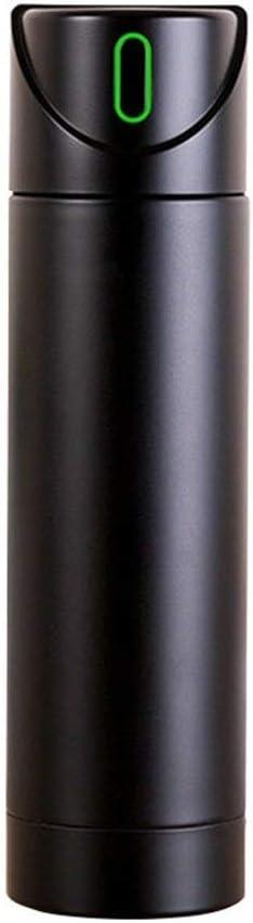RNGNB Botella de Agua Inteligente, hervidor de Agua Aislado 340 ml Taza de Agua de Acero Inoxidable Recordatorio de Botella Inteligente Botella Smart Water Bottle (Color : Black)