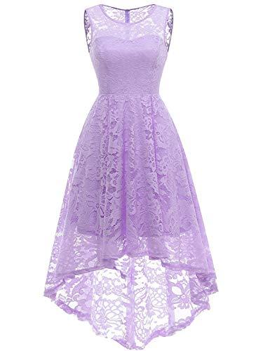 PERSUN Women's White Floral Gauze Panel Multi Layer Sleeveless Wedding Dress (Small, -