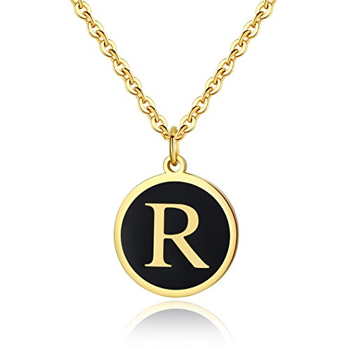 REVEMCN Stainless Steel Alphabet and Bible Verse Proverbs 4:23 Pendant Necklace for Men Women with Keyring and 22'' Chain (Gold-Tone: -