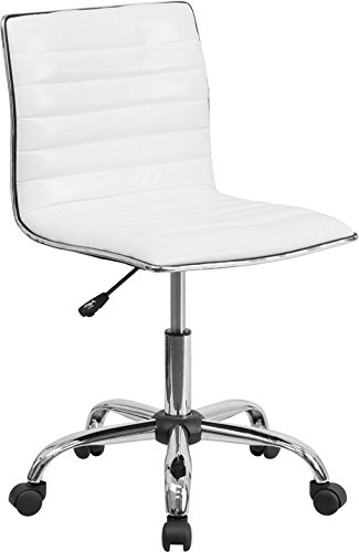 Contemporary Office Swivel Chair - Flash Furniture Low Back Designer Armless White Ribbed Swivel Task Chair