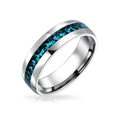 Bling Jewelry Simulated Blue Topaz Crystal Eternity Band Ring Stainless Steel Blue 8