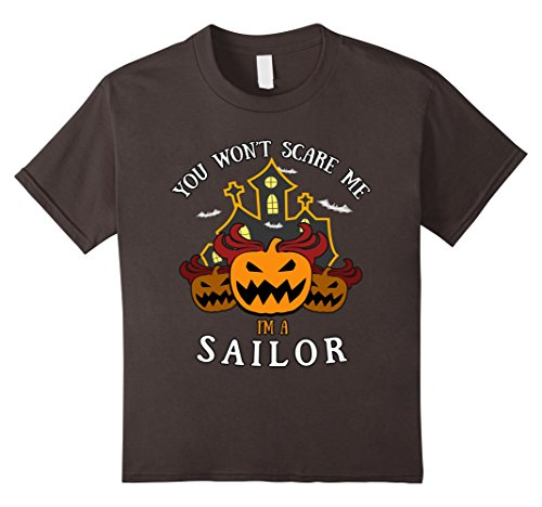 Zombie Sailor Girl Costume - Kids You Won't Scare Me I'm Sailor Tee 12 Asphalt