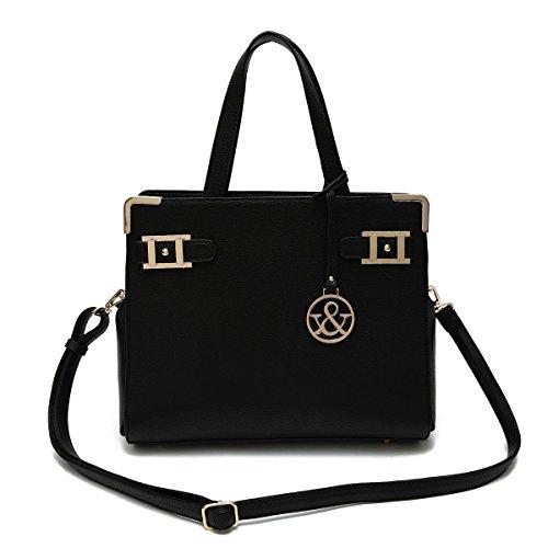 Hue & Ash Black Vegan Leather Handbag 249