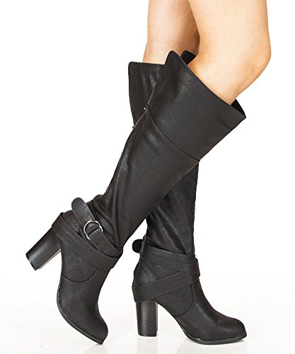 High Almond Knee Nature Toe Vegan Boots Heel Black Stacked Delicious 1wEIqXdw