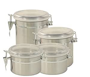kitchen canister sets stainless steel cook pro 694 4 stainless steel canister 24618