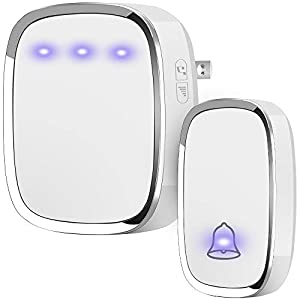 Anko Wireless Doorbell, Plug and Play Waterproof Door Bell Kit; 1000 Feet Operating Range; 36 Chimes Quality Sound; 4 Levels Adjustable Volume, Led Flash Indicator