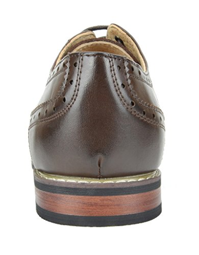 Lined Oxfords Shoes Dark Dress Brown Wing Bruno Leather Men's Tip Marc Prince 8FxzqRwSI