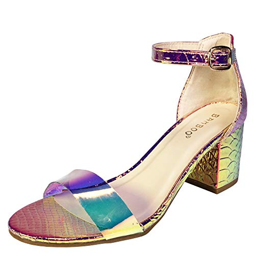 BAMBOO Women's Block Heel Sandal with Ankle Strap, Clear PVC with Iridecscent Snake PU, 10.0 B -