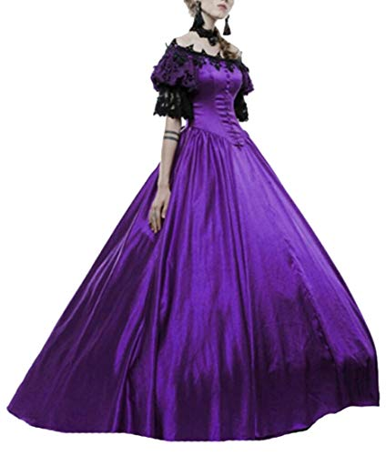Beloved Womens Royal Vintage Medieval Dresses Lady Satin Gothic Victorian Dress Fancy Masquerade Dress Purple XL ()