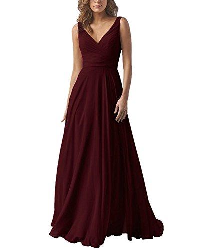 Yilis Double V Neck Elegant Long Bridesmaid Dress Chiffon Wedding Evening Dress Burgundy Size6