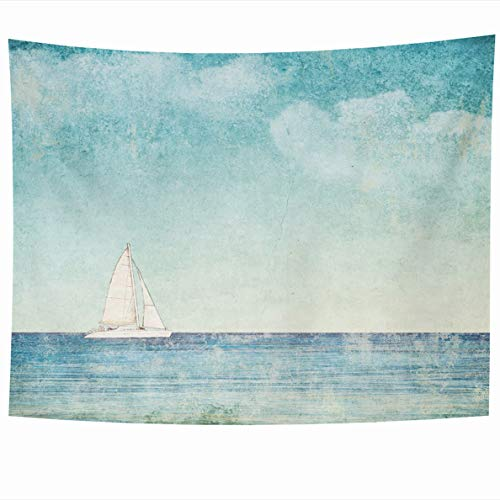 (Ahawoso Tapestry 60 x 50 Inches Abstract Watercolor Sea Vintage Sailboat Blue Space Boat Water Pastel Obsolete Design Heavenly Home Decor Wall Hanging Tapestries for Living Room Bedroom Dorm)