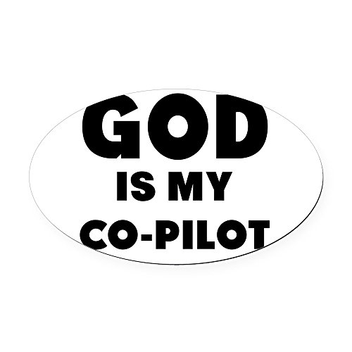 CafePress - god is my co pilot Oval Car Magnet - Oval Car Magnet, Euro Oval Magnetic Bumper Sticker - Pilot Magnet
