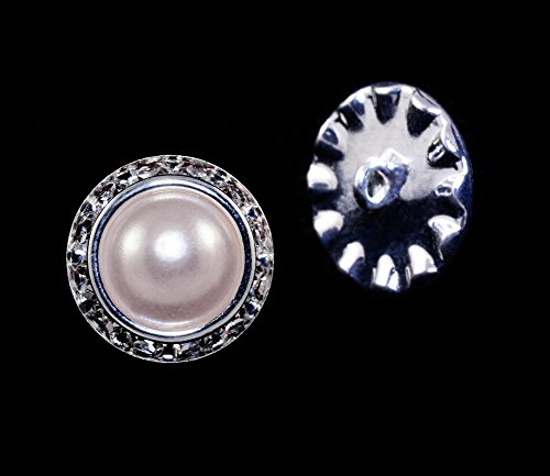 16mm Rondel Button with Imitation Pearl Center - 11789/16mm ()