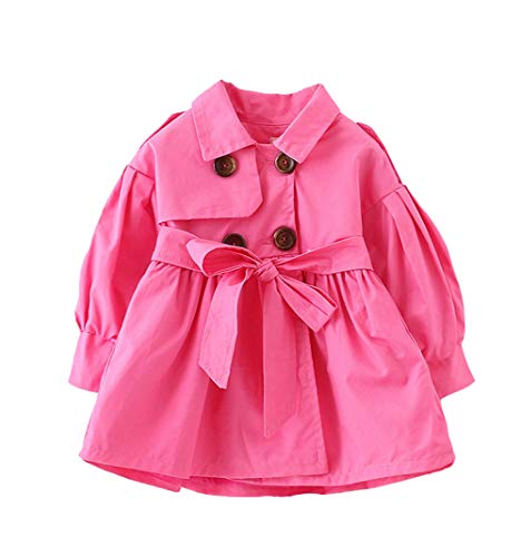 Designs Sweet Red Pea (AIKSSOO Kids Baby Girls Trench Coat Toddler Windbreaker Double-Breasted Jacket Size 80(6-12M) (Rose red))
