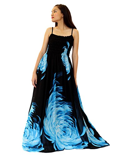 Women Floral Maxi Dress Plus Size Black Summer Long Sundress (XL, Blue/Black)