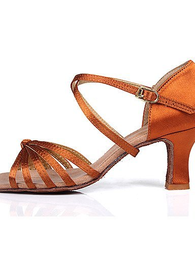ShangYi Customizable Women's Dance Shoes for Latin/Salsa with Customized Heels /2 Colors Brown 4KTgQ