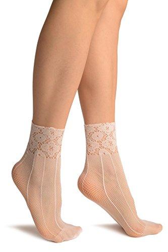 White Pinstriped Mesh Socks Ankle High - Socks