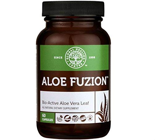 (Global Healing Center Aloe Fuzion Bio-Active Aloe Vera Leaf Supplement | 200x Concentrate Formula Made from Organic Aloe with Highest Concentration of Acemannen | Aloin-Free | 60 Capsules)
