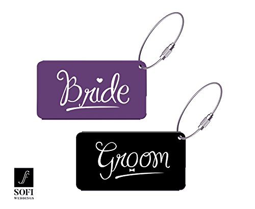 Elegant Bride Groom Luggage Tags for Wedding Gift & Bridal Shower Gifts Metal Finish (Pink or Purple (Bridal Shower Gift Tags)