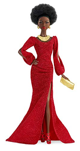Barbie Signature 40th Anniversary First Black Doll, Approx. 12-in, Wearing Red Gown, with Accessories, Doll Stand and Certificate of Authenticity