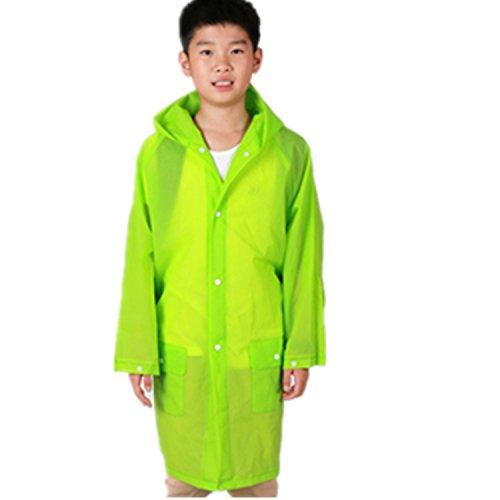 Yiluweinir Kids Raincoat With 2 Pockets Girl Boy Waterproof Hood Rain Jacket Outdoor Age 4-14 With Bag