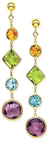 w Gold Muti Gemstone Post Stud Earrings Drop Dangle Fine Jewelry Gift Set For Women Heart (14k Muti Gemstone)