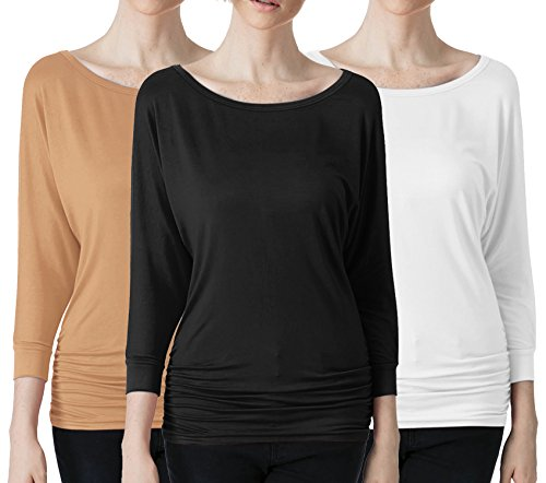 Pack n Pick Womens 3/4 Sleeve Drape Top Side Shirring (3 PACK) BEIGE BLACK WHITE M
