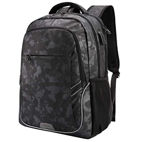 Netchain Large Travel Laptop Backpack Waterproof College School Bookbag Computer Bag, Anti Theft USB Charging Backpack for Men Women Laptop Accessories (Camo Black)