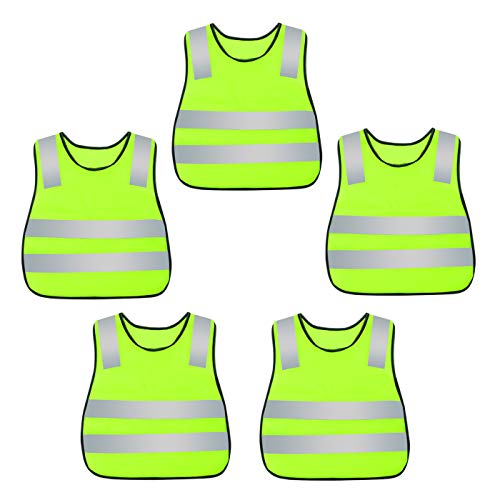 (AIEOE Kids Safety Vests Reflective Traffic Waistcoat 5 Pack Yellow)