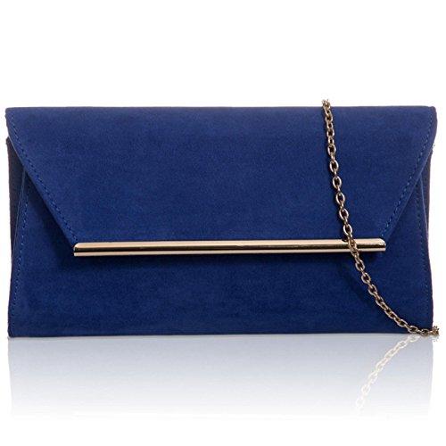 Xardi London, borsa pochette da donna, a forma di busta, in finta pelle scamosciata, borsa da sera Royal