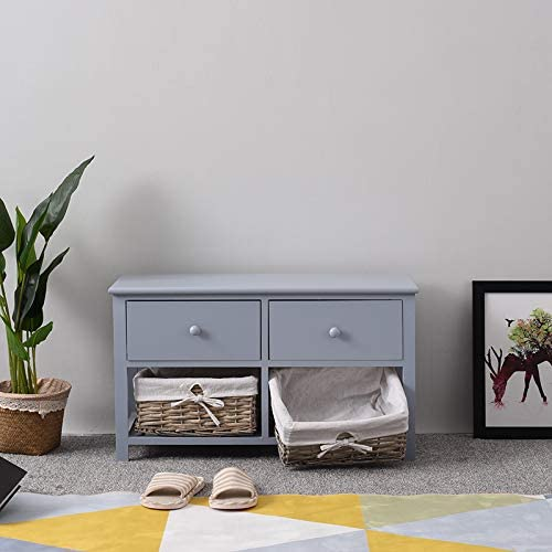 Panana Wooden Storage Bench with 2 Drawers and 2 Wicker Baskets Shoe Cabinet Units for Living Room Hallway Grey