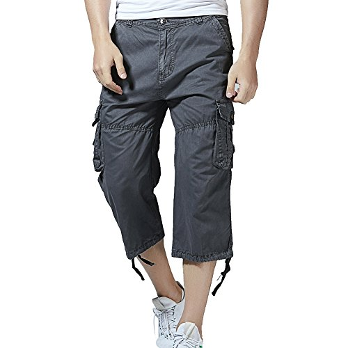 PIZZ ANNU Men's Cargo Shorts Casual Combat Knee-Length Capri Outdoor Shorts Pants(Dark grey-38)