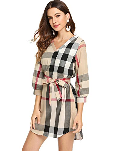 (Floerns Women's Plaid Print V Neck 3/4 Sleeve Self Tie A Line Tunic Dress Multi-2 M)