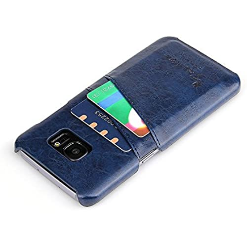PluStore(TM) Synthetic PU Leather Back 2 Card Slots Case Cover for Samsung galaxy S7 Edge (Blue) Sales